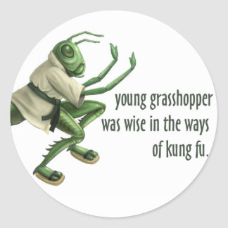Funny Kung Fu Grasshopper Classic Round Sticker