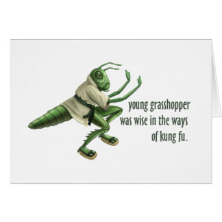 Funny Kung Fu Grasshopper Greeting Card