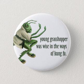 Funny Kung Fu Grasshopper Pinback Button