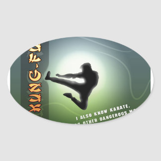 Funny Kung-Fu Oval Sticker