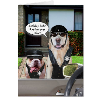 Funny Lab & Bull Dog Officers Birthday Card