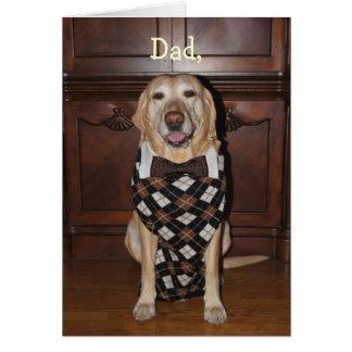 Funny Lab Dad in Argyle Sweater & Tie Card