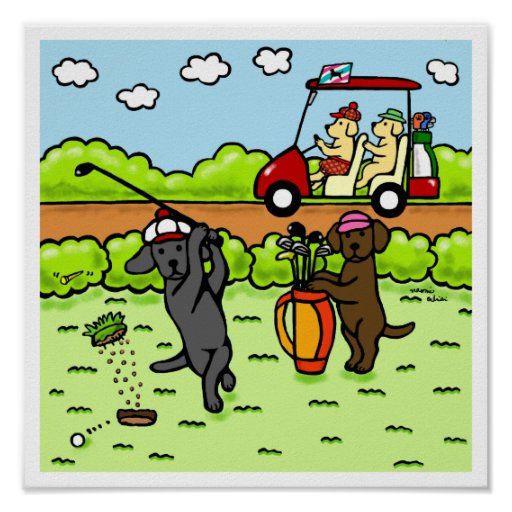 Funny Labrador Golfers Cartoon Black Lab Poster