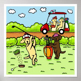 Funny Labrador Golfers Cartoon Yellow Lab Poster