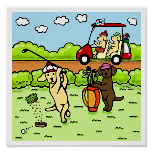 Funny Labrador Golfers Cartoon Yellow Lab Poster