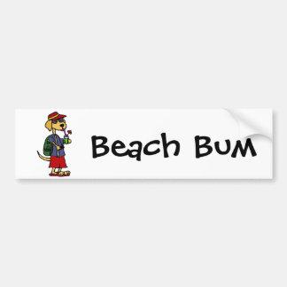Funny Labrador Retriever at the Beach Cartoon Car Bumper Sticker