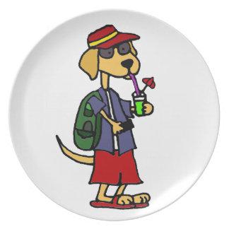 Funny Labrador Retriever at the Beach Cartoon Dinner Plate