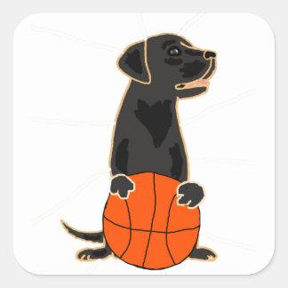 Funny Labrador Retriever Playing Basketball Square Sticker