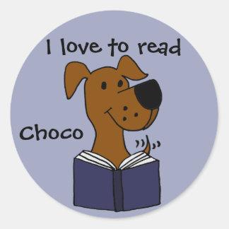 Funny Labrador Retriever Reading a Book Classic Round Sticker