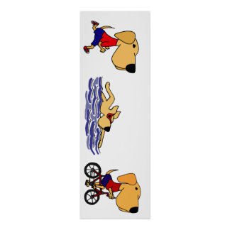 Funny Labrador Retriever Triathlete Poster