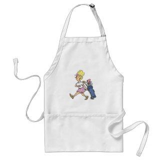 funny lady golfer cartoon graphic adult apron
