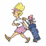 funny lady golfer cartoon graphic photo cut outs