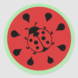 Funny Ladybug and Watermelon Sticker