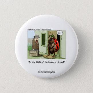Funny Ladybug Cartoon On Quality Novelty Button