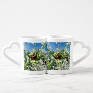 funny ladybug luck at love playing in spring coffee mug set