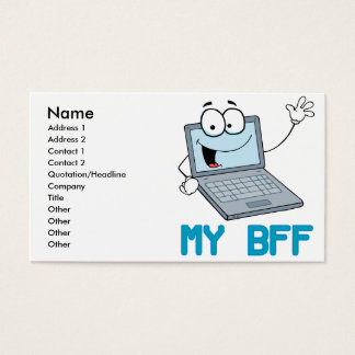 funny laptop my bff cartoon business card