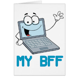 funny laptop my bff cartoon card