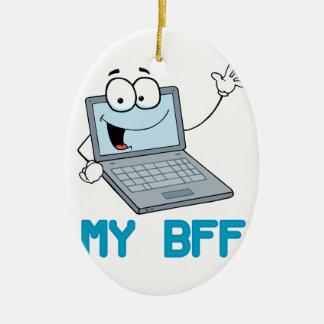 funny laptop my bff cartoon ceramic ornament