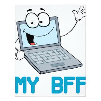 funny laptop my bff cartoon invite