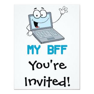 funny laptop my bff cartoon personalized announcement