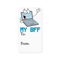 funny laptop my bff cartoon label