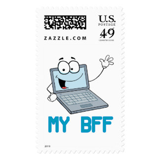 funny laptop my bff cartoon postage stamp