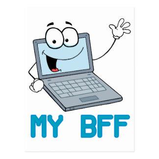 funny laptop my bff cartoon postcard