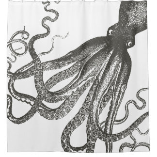 Funny Large Size Vintage Octopus Shower Curtain