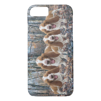 Funny Laughing Basset Hounds in the Woods iPhone 8/7 Case