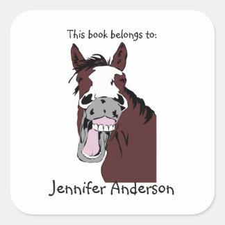 Funny Laughing Horse Art Custom Bookplate