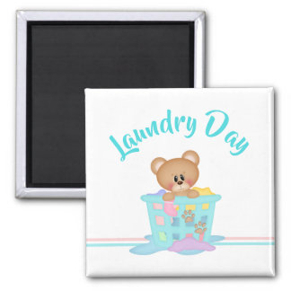 Funny Laundry Day Bear Basket Tshirt Magnet
