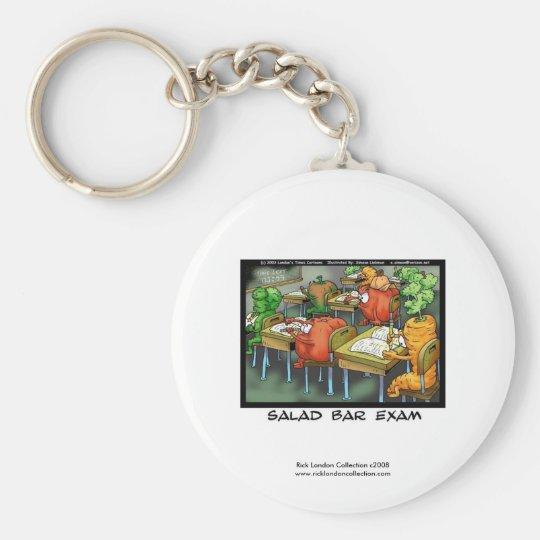 """Funny Lawyer Cartoon Keychain """"Salad Bar Exam"""""""