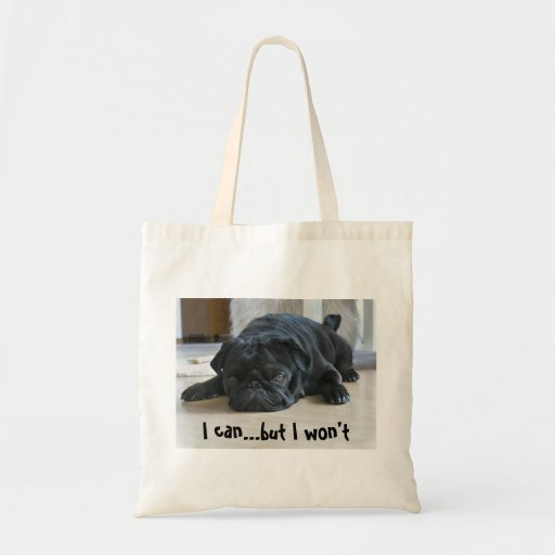 Funny Lazy Black Pug Puppy Tote Bag Bags