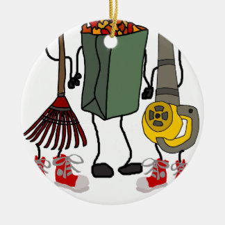 Funny Leaf Blowing Yard Work Cartoon Characters Ceramic Ornament
