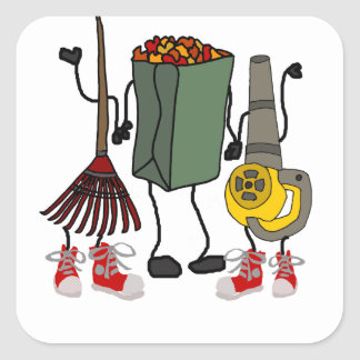 Funny Leaf Blowing Yard Work Cartoon Characters Square Sticker