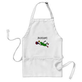 Funny Leaping Pickle Playing Pickleball Adult Apron