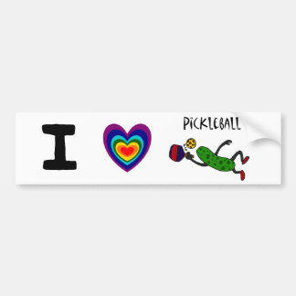 Funny Leaping Pickle Playing Pickleball Bumper Sticker