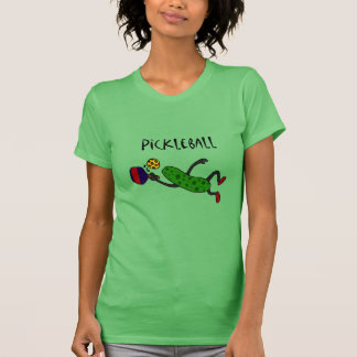 Funny Leaping Pickle Playing Pickleball T-shirt