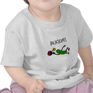 Funny Leaping Pickle Playing Pickleball Tee Shirt