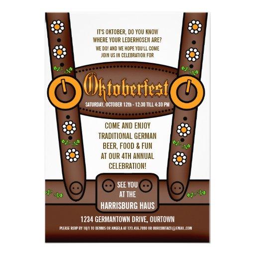 Funny Lederhosen Oktoberfest Party Invitations (front side)