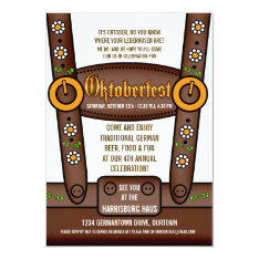 Funny Lederhosen Oktoberfest Party Invitations at Zazzle