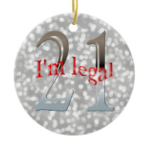 Funny Legal 21st Birthday Bokeh Silver Christmas Ceramic Ornament