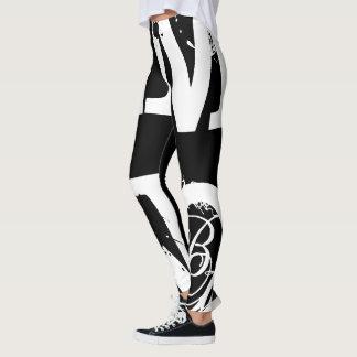 Funny Leggings Alphabet Letter Black White Legging