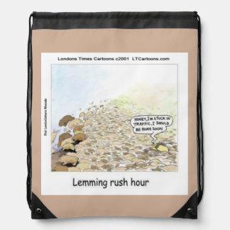 Funny Lemmings Rush Hour Drawstring Backpack