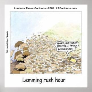 Funny Lemmings Rush Hour Poster