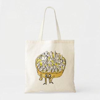 Funny lemon meringue pie novelty foodie art budget tote bag