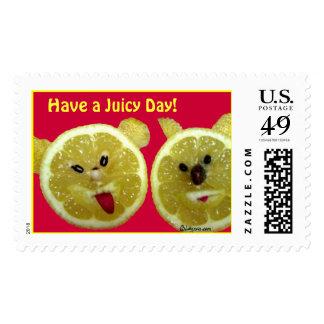 Funny Lemon Postage Stamps