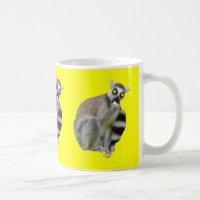 Funny Lemur with Scary Eyes Yellow Coffee Mug