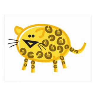 Funny Leopard on White Postcard