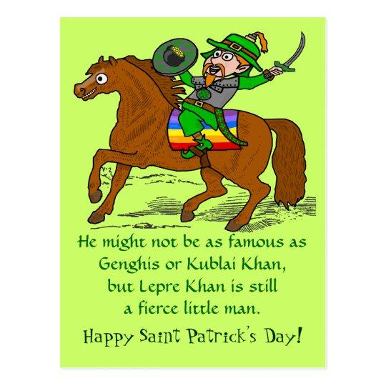 Funny Lepre Khan St Patrick's Day Postcard